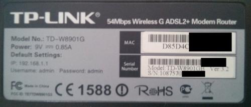 Typový štítek routeru