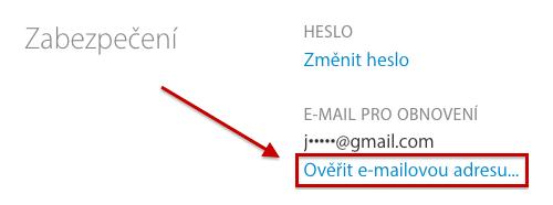 Snímek přehledu Apple ID s neověřeným e-mailem